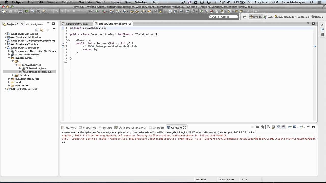 WSDL example publishing on Ecplise using Apache CXF 2 X
