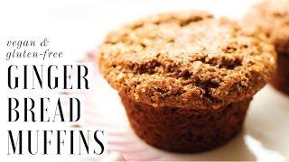 Healthy Gingerbread Muffins vegan, gluten-free, oil-free