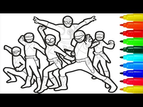 Mighty Morphin Power Rangers Coloring Pages | Colouring Pages for Kids with Colored Markers
