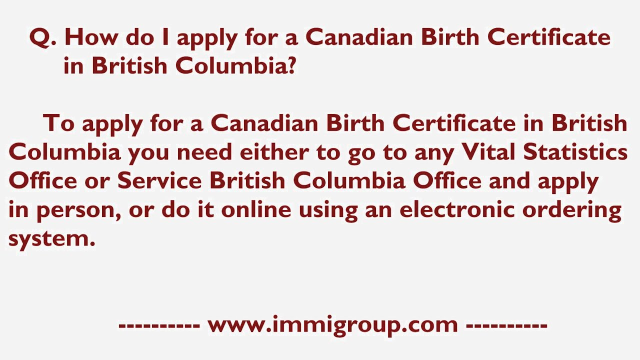 How do i apply for a canadian birth certificate in british how do i apply for a canadian birth certificate in british columbia aiddatafo Choice Image