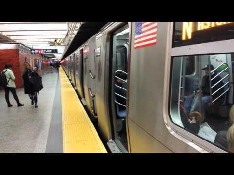 BMT Broadway Line: Queens Bound R160 & R46 N, Q & R Trains @ 49th Street
