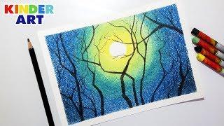 Как нарисовать красивый ночной пейзаж масляной пастелью поэтапно для детей и начинающих