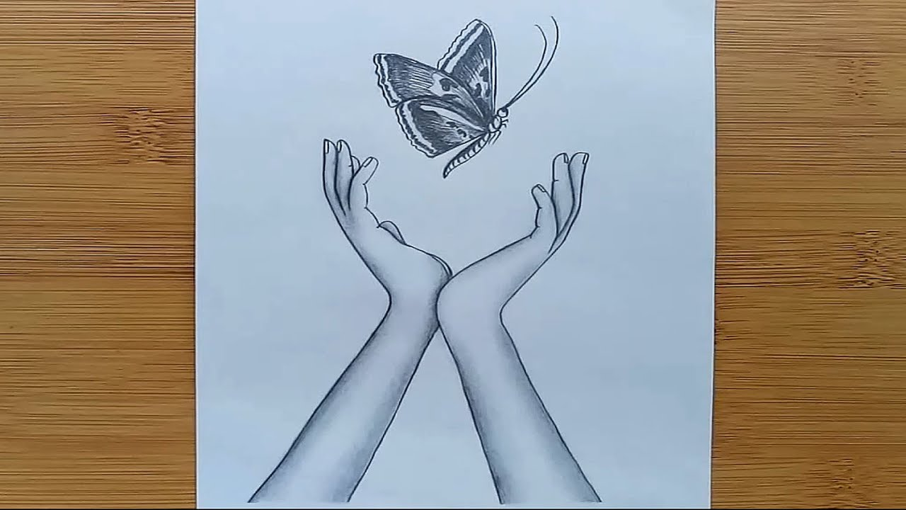how to draw butterfly in hands with pencil sketch step by
