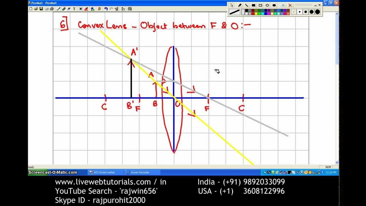 ray diagram convex lens 6 object between f o