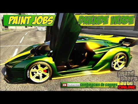 GTA 5 PAINT JOBS -Combinacion de colores -DUENDE VERDE gta v online