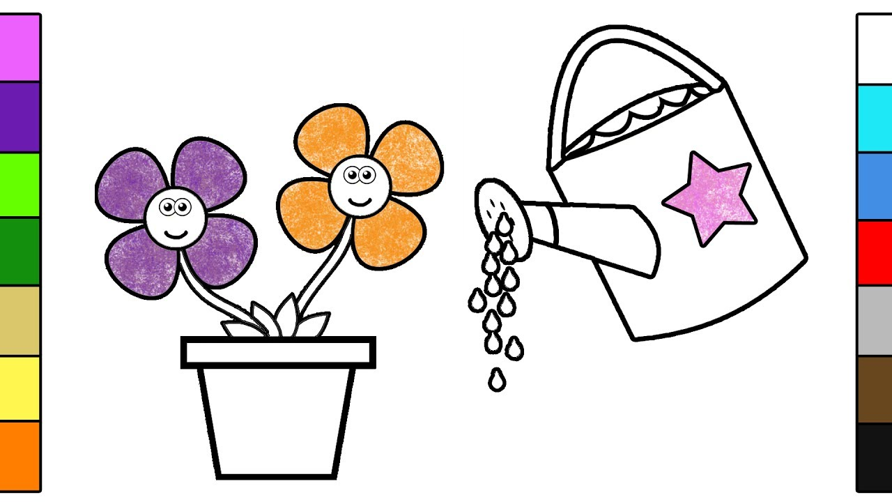 Watering Can And Flowers Coloring Pages