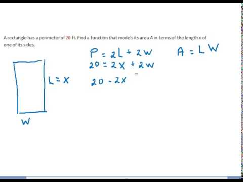 Write an expression for the area of a rectangle in terms of x