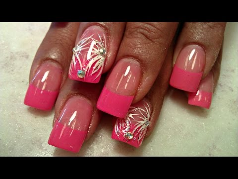 HOW TO HOT PINK TIPS ACRYLIC NAILS FULL TUTORIAL