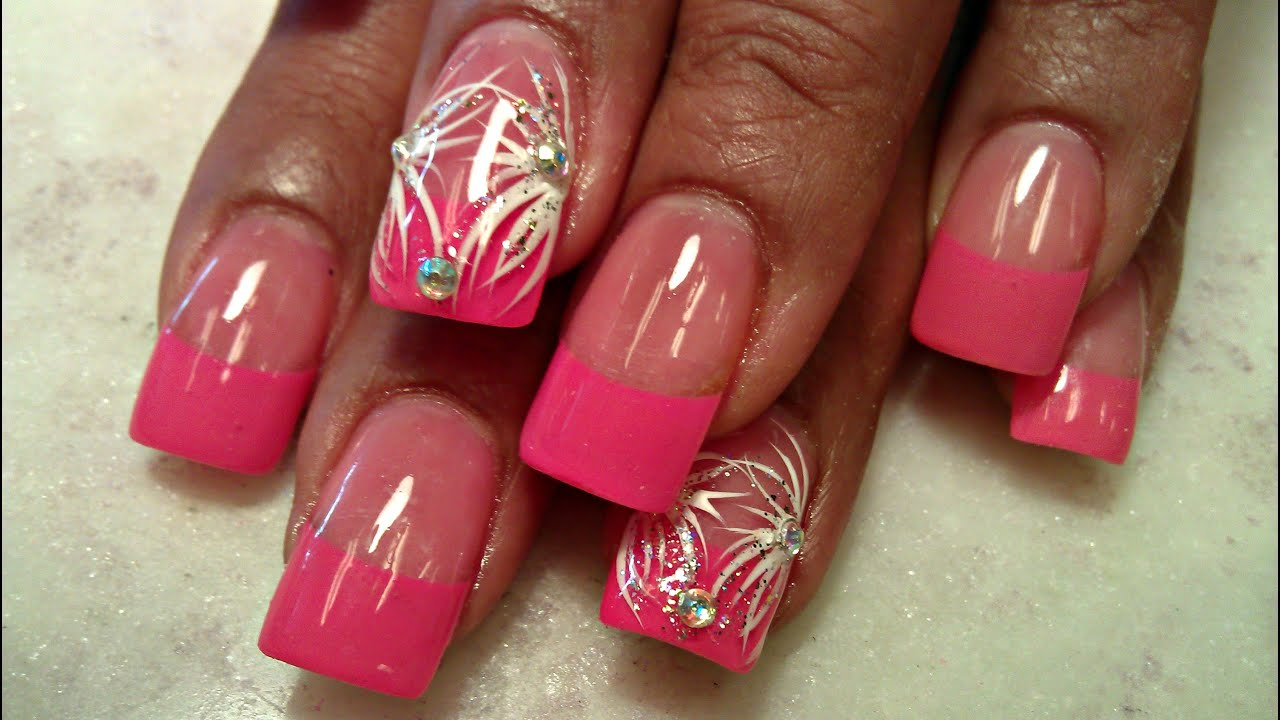 How To Hot Pink Tips Acrylic Nails Full Tutorial Youtube