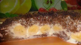 торт: ''Норка крота'' с бананами
