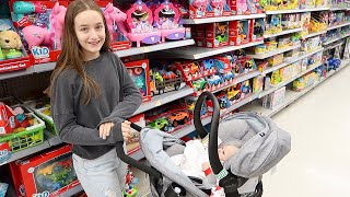 Shopping with Reborn Baby Doll in Stroller Car Seat at Walmart