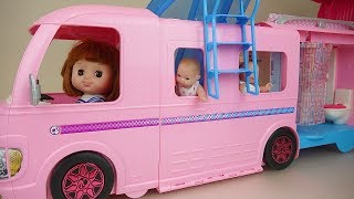 Baby doll and pool bus car toys baby Doli camping play