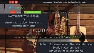 Schumann R. arr. Kirchner T. | Study in Canon No.1 for violin, violoncello and piano