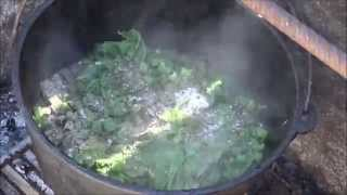 Dutch Oven Cooking  Southern Mustard Greens