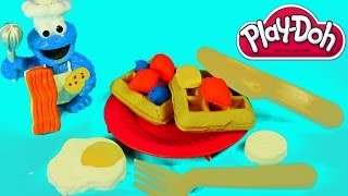Play Doh Breakfast Time Set With Disney Cars Toy Club Playdough Foods Eggs And Cookie Monster
