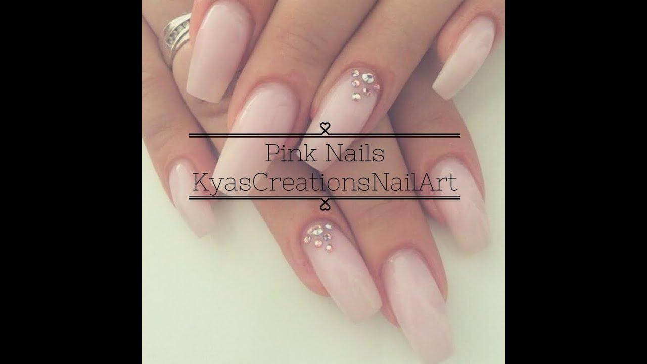 Pink nails with diamonds || KyasCreationsNailArt - YouTube
