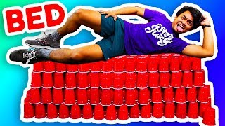 BUILDING A GIANT RED CUP BED! (King Size)