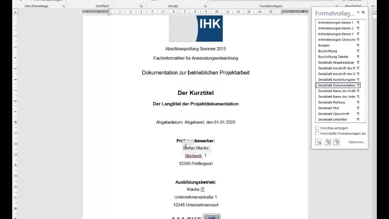 Word Vorlage Für Die Projektdokumentation Der It Berufe Youtube