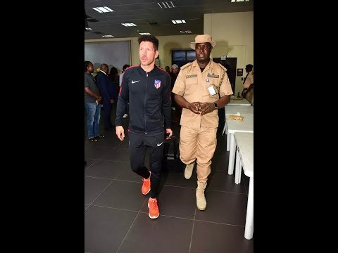 Atletico Madrid players arrive Uyo for friendly with Super Eagles