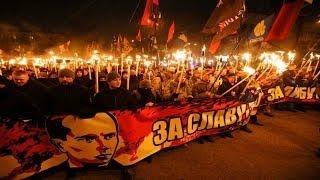 Факельное шествие в 109 годовщину Степана Бандеры.