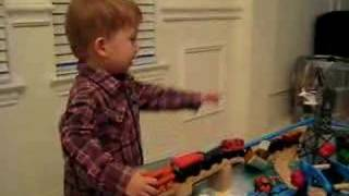 Andrew Playing With Thomas The Train Table