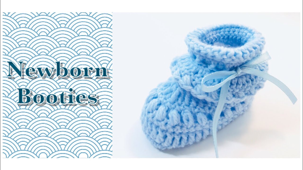 How To Easy Crochet Bean Stitch Baby Booties Newborn Shoes Boy