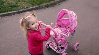 Alina playing with doll. Sleeping song nursery rhymes for children baby songs