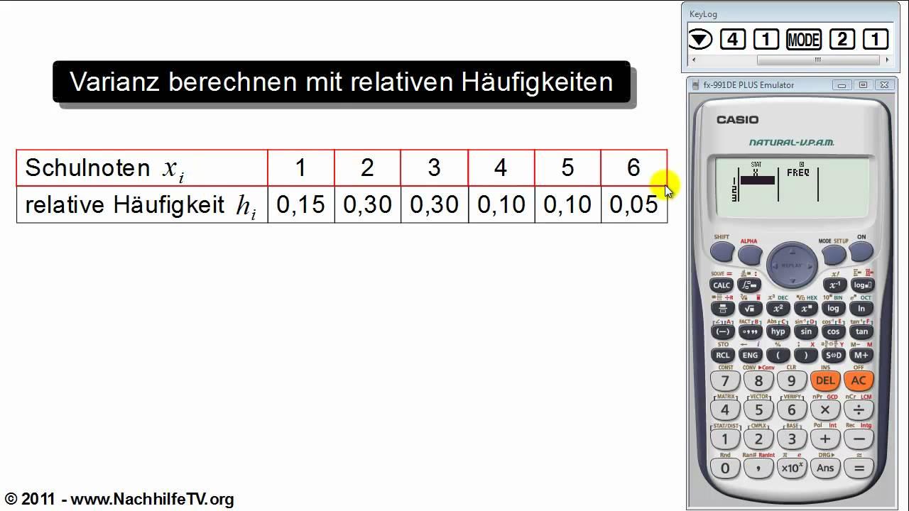 varianz und standardabweichung berechnen mit relativen h ufigkeiten taschenrechner youtube. Black Bedroom Furniture Sets. Home Design Ideas