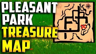 """Follow the treasure map found in Pleasant Park"" Location - Fortnite Week 7 Treasure Map Location"