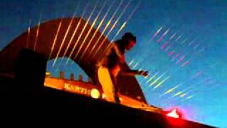 William the Composer and Inventor of the Earth Harp at his final performance Burning Man Temple 2011