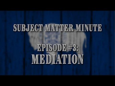 Subject Matter Minute #3 - Mediation