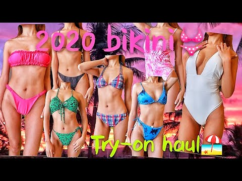 Asian girl sexy bikini try-on haul in the year of 2020