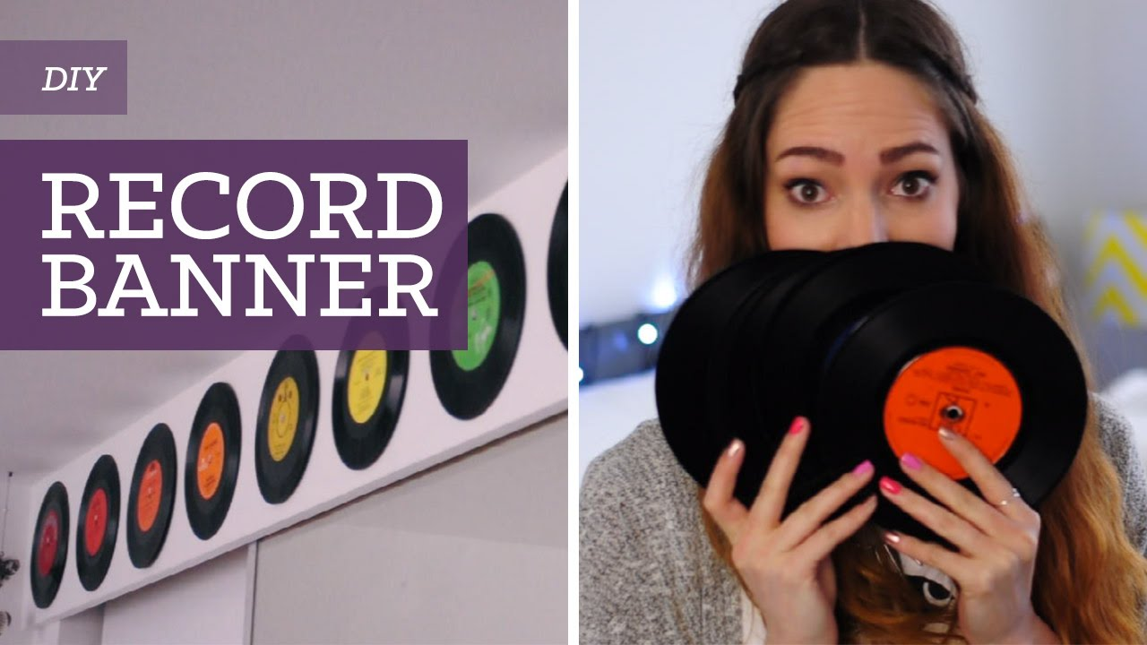 Diy old vinyl record wall banner charlimarietv youtube for Vinyl records decorations for wall