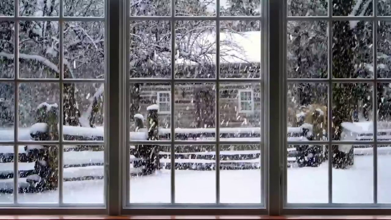 Winter Window Snow Scene Snow and Fireplace - YouTube