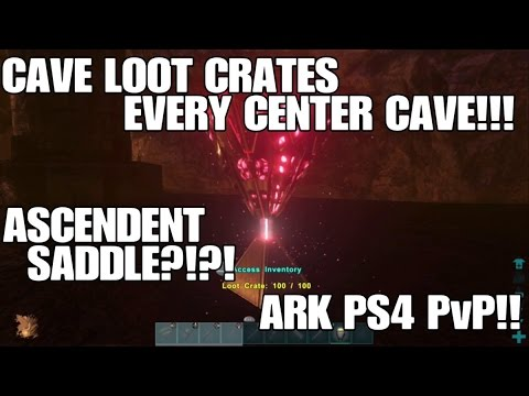 CAVE LOOT CRATES!!! EVERY CAVE ON THE CENTER! ARK PS4 PvP!
