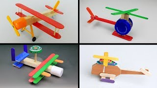 4 DIY Plane Toys for Kids - Popsicle Stick Crafts