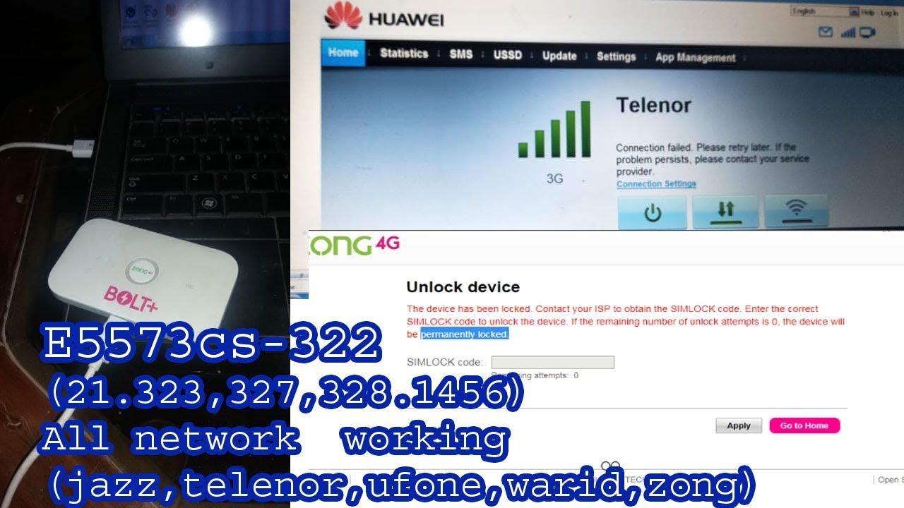 Free Zong Bolt+ Mifi Huawei E5573cs-322 (21 323,327,328 1456) All