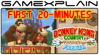 Donkey Kong Country: Tropical Freeze - First 20-Minutes - World 1 Playthrough (Japanese Version)