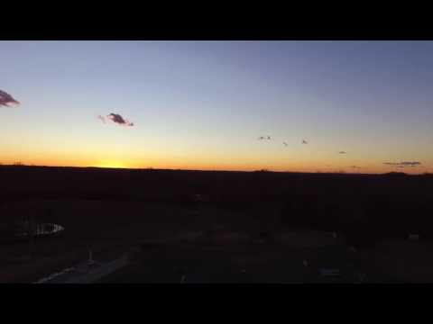 Sunset drone flight