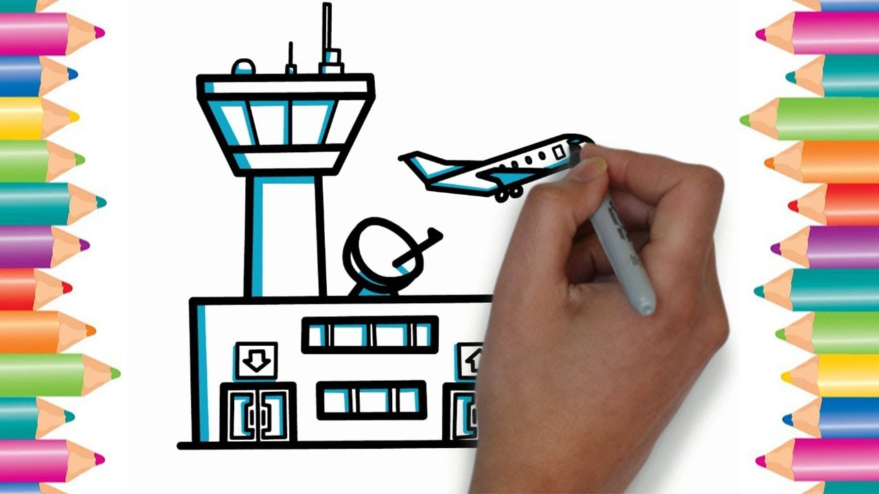 How To Draw An Airport Kids Drawing Fun With Color Drawing