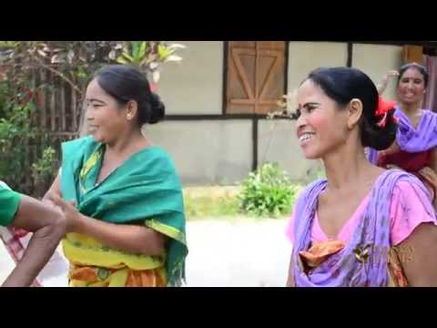 Bodo tribe women singing Baisagu song in Assam, India.