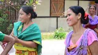 Bodo tribe women singing Baisagu song in Assam, India.