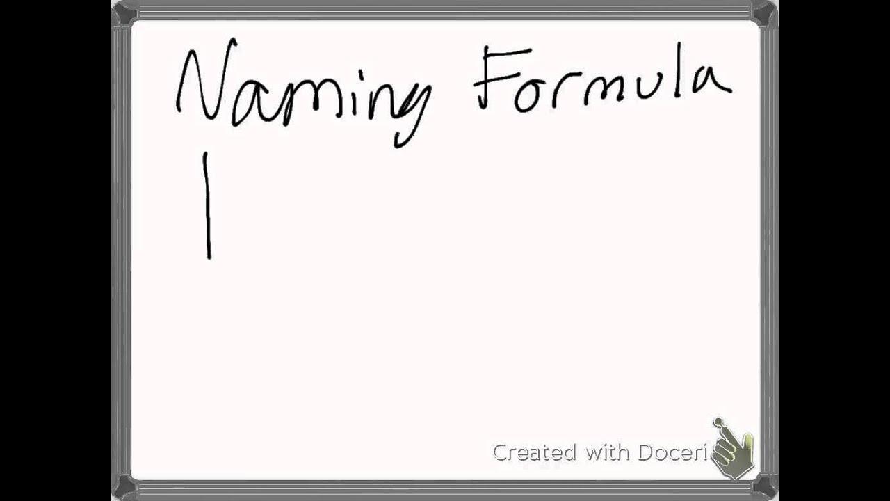 Chemistry Naming Formula Flow Chart