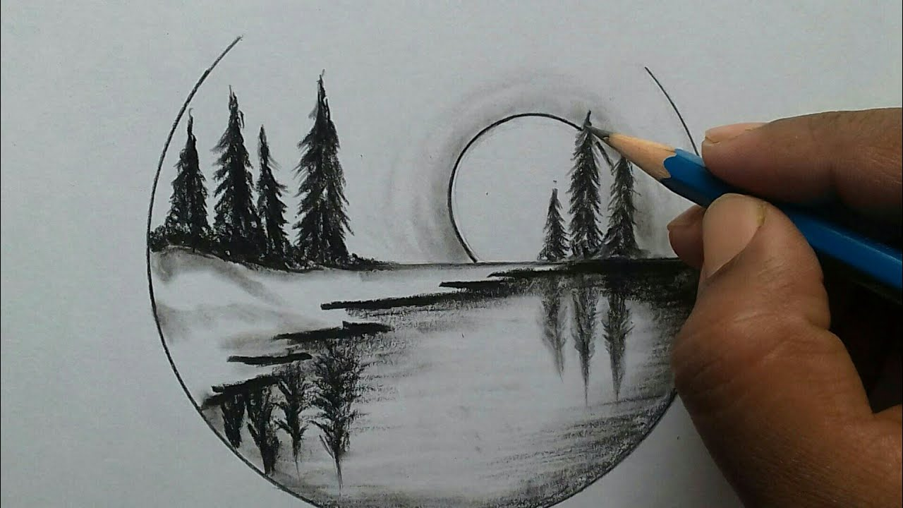 Nature scenery drawing for beginners / easy and step by ...