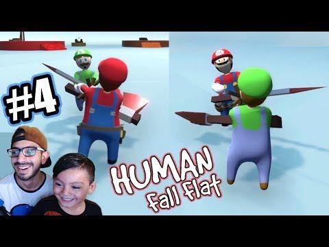 Mario Vs Luigi En Mundo De Plastilina | Luchas En Human Fall Flat | Juegos Karim Juega