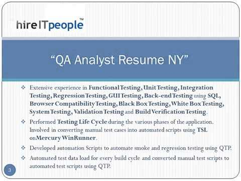 qa analyst resume ny - Quality Analyst Resume
