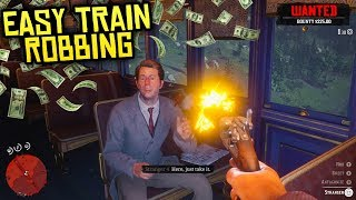 Red Dead Redemption 2 - ROBBING TRAINS EASY! How to Make TONS of Money w/ No Lawmen!