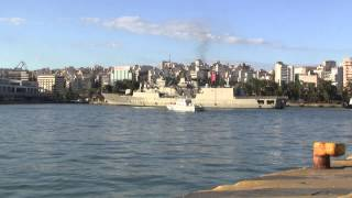 GREEK NAVY FRIGATE SALAMIS F-455 RETURNS FROM LIBYA