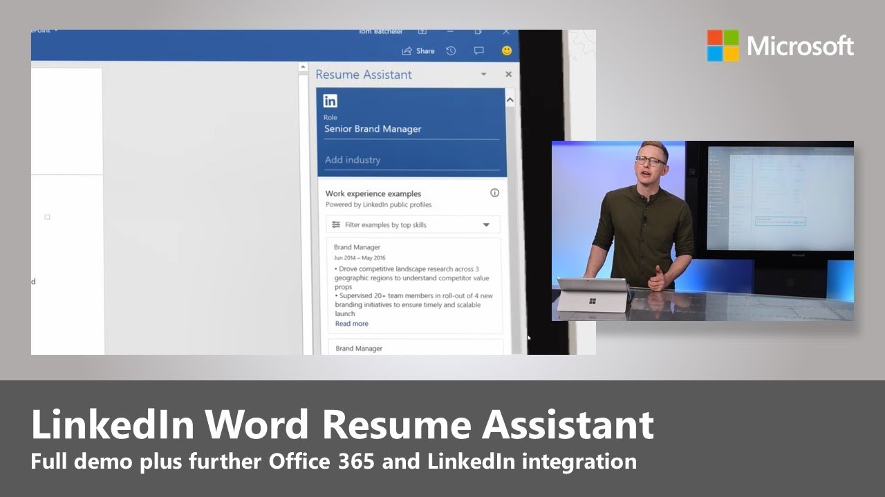 Step-by-step demo of LinkedIn Word Resume Assistant, plus new LinkedIn integration in Office 365
