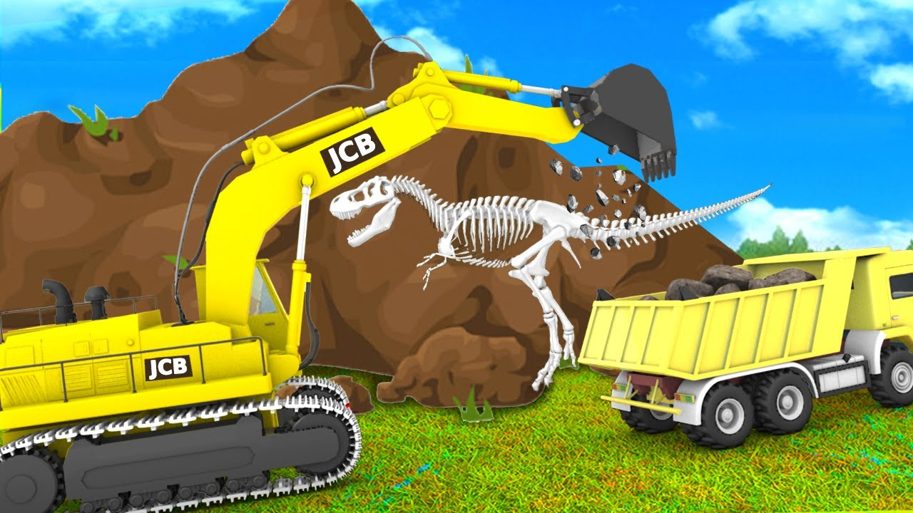 Monkey and Gorilla with Giant JCB Truck Dinosaur Museum in Jungle   Funny Animals 3D Videos Forest